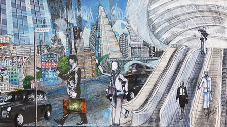 City of London mixed media painting. Picture: Stacey Leigh Ross