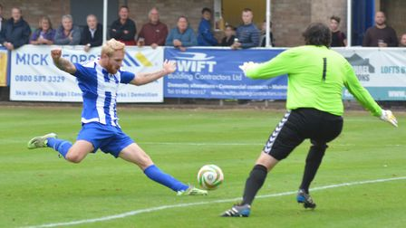 Eynesbury Rovers striker hit a hat-trick for the fourth time this season.