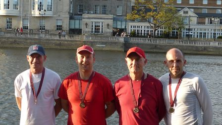 The St Ives Rowing Club Masters D quad.