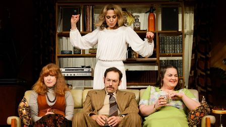 Abigail's Party: (standing) Amanda Abbington as Beverly (seated left to right Rose Keegan as Susan,