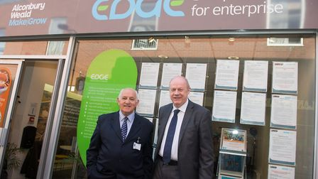 Leader of Huntingdonshire District Council, Councillor Robin Howe, with the Secretary of State for W