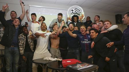 Royston Town's squad celebrate their title success. Picture: Kevin Richards