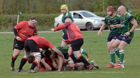 Action from Huntingdon's clash with Newbold on Avon.