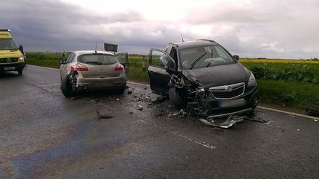Two car collision on the B1040, Ramsey.