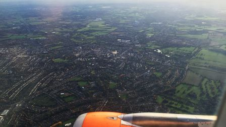 An aerial view of St Albans city centre as seen from an easyjet flight from Luton airport to Amsterd