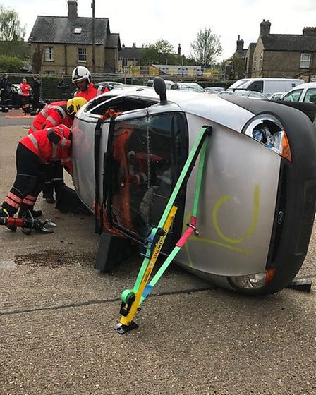 The joint training exercise between Cambridgeshire Fire and Rescue Service and Magpas.