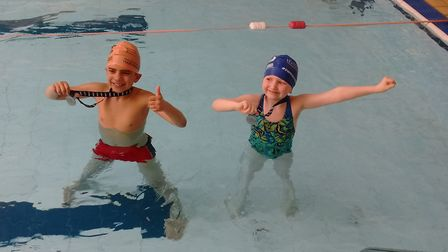 Proud young swimmers taking part in the swimathon.