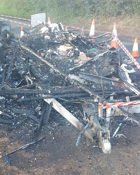 Another view of the remains of the caravan in Wheathampstead. Credit: Andrew Grant