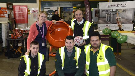 The cement mixer challenge at Travis Perkins in St Albans.