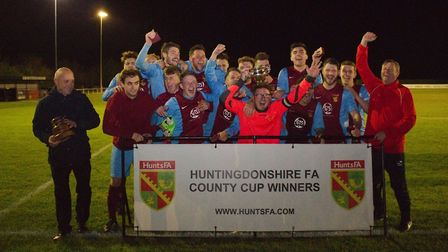 Eaton Socon celebrate their Hunts Intermediate Cup success. Picture: KEITH MOSS