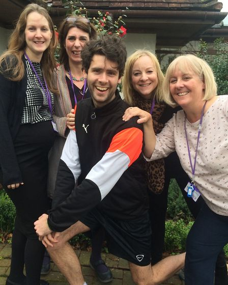 Jack Gray with nurses from Rennie Grove.