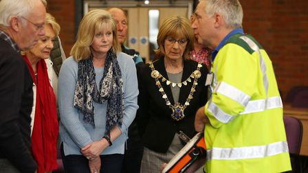 Defibrillator training in the St Albans council chambers attended by MP Anne Main, mayor Frances Leo