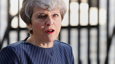 Prime Minister Theresa May announcing the snap general election to be held on June 8. Picture: PHILI