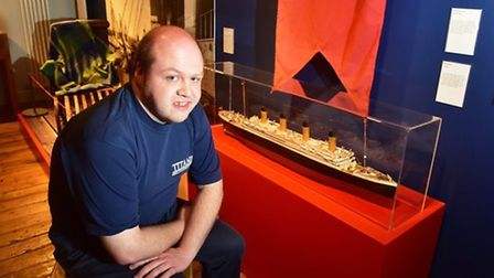 Matthew Day visits the Time and Tide museum Titanic exhibition. A relation of his, Frederick Wright,