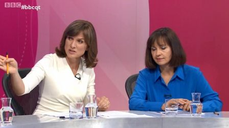 Caroline Flint is asked to address a point from a Labour activist by Fiona Bruce on Question Time. P