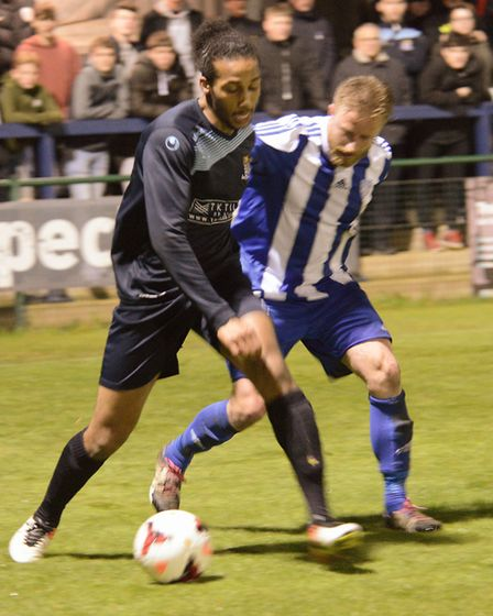 Action from the Senior Cup final between Eynesbury Rovers and St Neots Town.