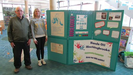 Donald Lambert (left) and Lorna Mansfield from Hands Off Hinchingbrooke at the Huntingdon Library ex
