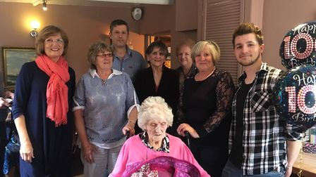 Joyce Mawson with family and friends