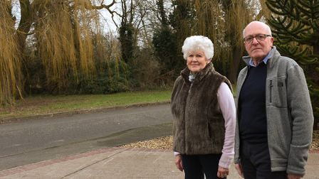 Jean Tarling and David Jacobs opposite the proposed development site.