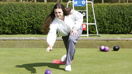 Royston Bowling Club Open Day - Rachel Tremlett in action on the bowling green.Picture : Karyn Hadd