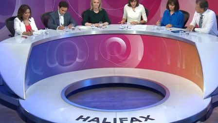 The Question Time panel in Halifax. Photograph: BBC.