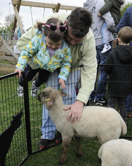 Poppy Watts and Dave Bridger with the lambs at Coneygear Park.