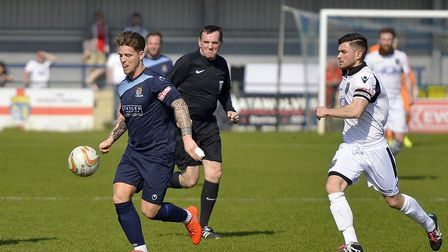 Declan Rogers hit a birthday goal for St Neots Town against Merthyr. Picture: DUNCAN LAMONT