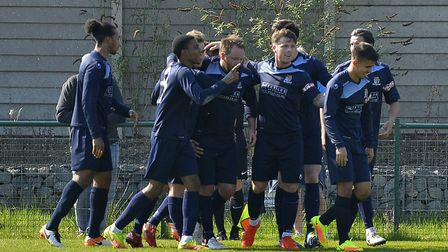 St Neots Town players celebrate after Lee Clarke put them ahead in the first half. Picture: DUNCAN L