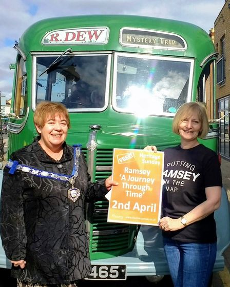 Mayor of Ramsey Councillor Adela Costello with Ann Cuthbert from Promoting Ramsey