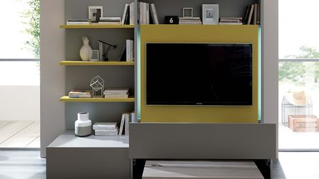 Italian brand Ozzio's Smart Living project includes this ingenious unit that combines a TV and wall