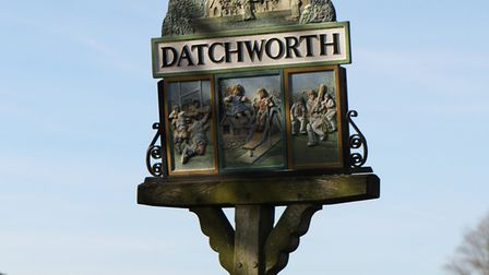 The village sign on Datchworth Green