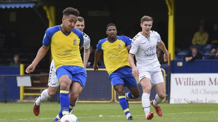 Zane Banton scores from the penalty spot for St Albans City against Weston super Mare (pic Bob Walkl