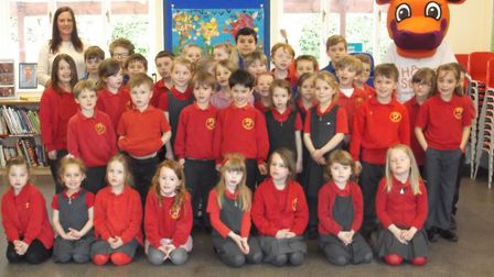 Barley and Barkway pupils with Sarah Mascall and Hope the Home-Start Hippo.