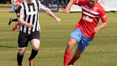 Action from St Ives' clash with King's Lynn Town