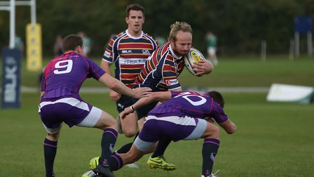 Chris Lombaard scored a try in his final game for Old Albanian RFC. Picture: DANNY LOO