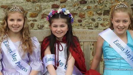 From left: May princess Hollie Evans, May Queen Alicia Ferguson and May princess Shanno McElhone.