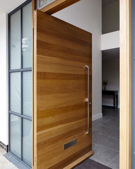 On-trend: Pivot doors, like this Oak one from Urban Front, give an added sense of space to an entran
