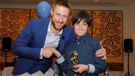 David Noble was presented with the Junior Saints' player of the year award by Zac Hill on behalf of