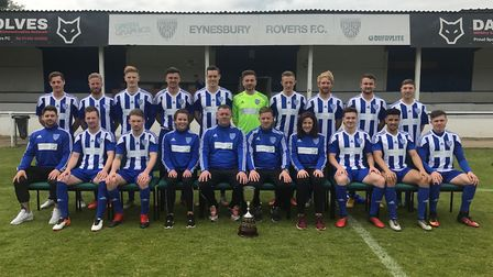 Eynesbury Rovers show off the Hunts Senior Cup. They are, back row, left to right, Daniel Moyes, Dar