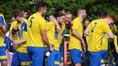 All smiles as Harpenden celebrate promotion to the SSML Premier Division.Picture: KARYN HADDON