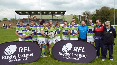 St Albans Centurions with the East Rugby League 9-a-side trophy. Picture: DARRYL BROWN