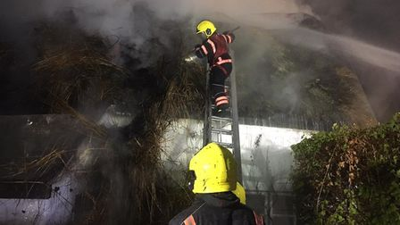 A fire at a thatched house in Great Gransden