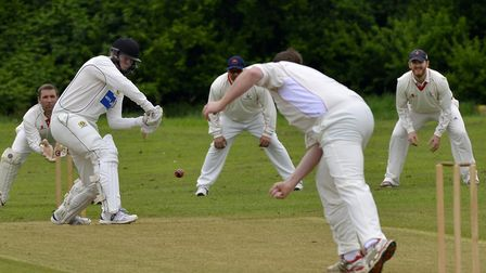 Eaton Socon batsman Tom Banks on his way to a century in their win at Godmanchester Town. Picture: D