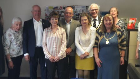 High Sheriff of Hertfordshire Will Hobhouse, third left, and his wife Kate, first left, with Volunte