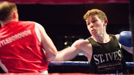 Ryan Laud during his impressive debut for St Ives Boxing Academy.