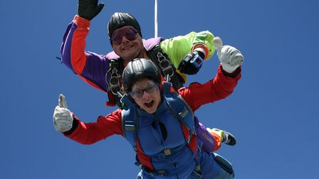 Amy Parr jumped out of a plane to raise money for the team at the Rosie Hospital NICU in Cambridge.