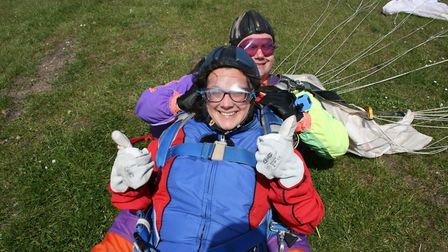 Amy said she was buzzing when she landed after skydiving in Cambs.