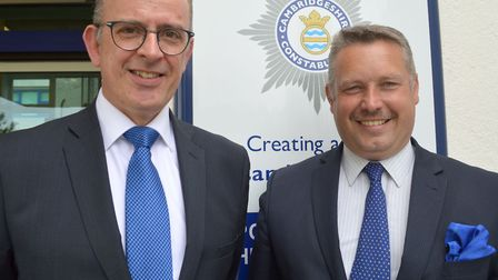 Cambridgeshires police and crime commissioner, Jason Ablewhite with Andy Coles former deputy police