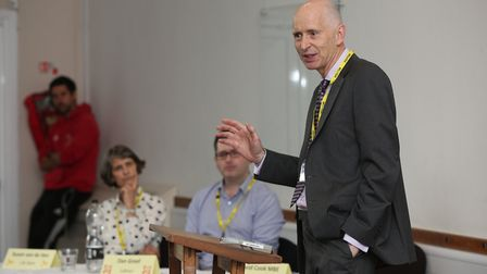 Returning officer David Cook MBE chairs the hustings event at Bassingbourn Village College with year