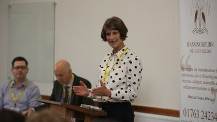 Liberal Democrat candidate Susan van de Ven speaks to years 10 and 11 at the hustings event at Bassi